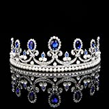 Topwedding Royal Blue Rhinestone Pearl Wedding Tiara Headband Bridal Tiara Crown Prom Pageant Headpieces