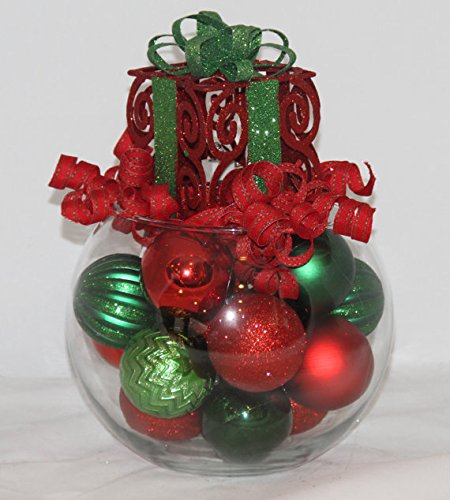 Quot red and green christmas bubble bowl centerpiece home