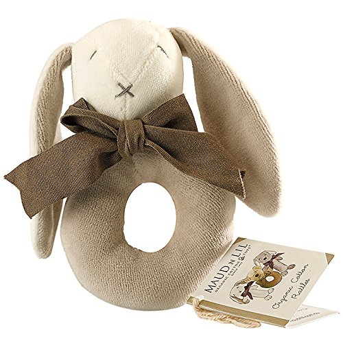 Maudnlil Organic infant Donut Rattle, Grey, Small