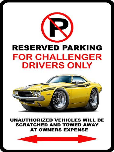 1973 1974 Dodge Challenger Rt Muscle Car-Toon No Parking Sign