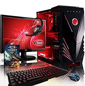 "VIBOX Warrior Package 4S - Fast 4.1GHz 6-Core, High Spec, Desktop Gaming PC, Computer with WarThunder Game Bundle Complete Full Package Including: 22"" Monitor, Headset, Gamer's Keyboard & Mouse Set AND a Neon Red Internal Lighting Kit PLUS a Lifetime Warranty Included* (3.5GHz (4.1GHz Turbo) AMD FX 6300 Six Core Processor, 2GB AMD Radeon R9 270X HDMI Graphics Card, High Grade 500W PSU, 1TB Hard Drive, 16GB 1600MHz RAM, SD Memory Card Reader, No Operating System)"