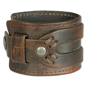 SilberDream Bracelet de Cuir antique Couleur brun - Convient pour la circonférence de bras 19 à 21,5cm - Bracelet pour les hommes LA4293B