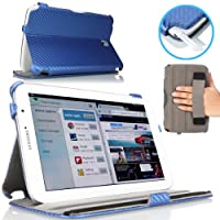 MoKo Slim-Fit Multi-angle Folio Cover Case for Samsung Galaxy Note 8.0 inch GT - N5100 / N5110 Android Tablet, Carbon Fiber BLUE (with Auto Wake/Sleep Function, and Integrated Hand Strap) from MoKo