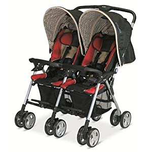 Combi Twin Savvy E Stroller - Red Chevron