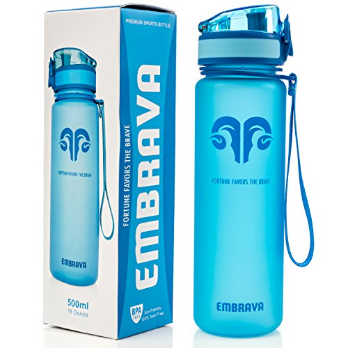 Best Sports Water Bottle - 18oz Small - Eco Friendly & BPA-Free Plastic - Fast Water Flow, Flip Top Lid, Opens With 1-Click (Blue) (Narrow Water Jug compare prices)