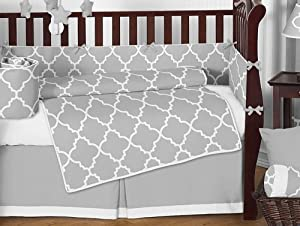 Gray & White Trellis Modern Baby Crib Bedding Set by Sweet Jojo Designs