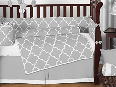 Gray & White Trellis Modern Baby Crib Bedding Set by Sweet Jojo Designs