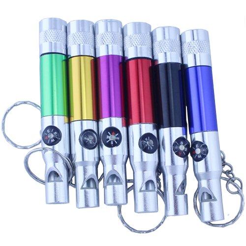 3Cera® 3 In 1 Kompass Whistle Climbing Survival Portable Led Torch Light Flashlight Keychain Keyring Blue 1Pc