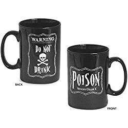 Halloween Black 16 Oz Coffee Mug with Skeleton and Poison Message