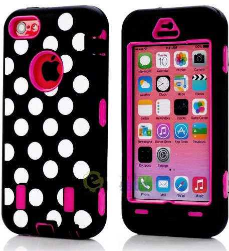 Mylife (Tm) Hot Pink + Black Polka Dotted Style 3 Layer (Hybrid Flex Gel) Grip Case For New Apple Iphone 5C Touch Phone (External 2 Piece Full Body Defender Armor Rubberized Shell + Internal Gel Fit Silicone Flex Protector + Lifetime Waranty + Sealed Insi