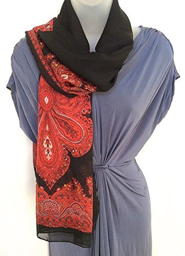 Paisley Sheer Chiffon Cover-Up, Scarf/Poncho, Black And Red, Free Size front-345613