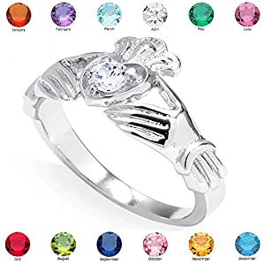 Women's Fine 925 Sterling Silver Custom Personalized CZ Heart Birthstone Claddagh Ring