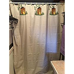 Awesome Old Fashioned Outhouses Natural Cotton Shower Curtain