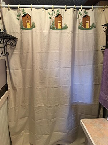 Luxury Old Fashioned Outhouses Natural Cotton Shower Curtain