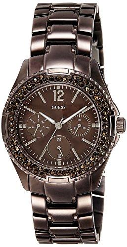 Guess W15531L1 - Reloj analógico de cuarzo para mujer con correa de acero inoxidable, color marrón