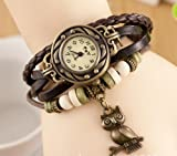 New Fashion Retro Owl Pendant Leather Weave Ladies Bracelet Quartz Wrist Watch