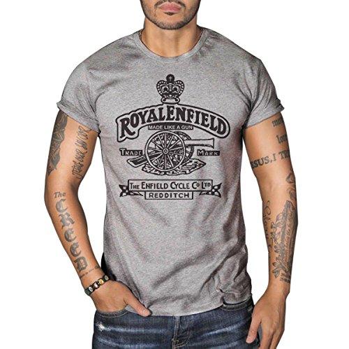 Royal Enfield Vintage Logo MOTORCYCLE BIKER Mens Top Dry Grey T-Shirt 0