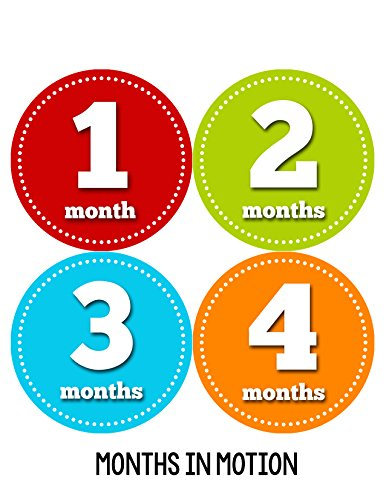 Months in Motion 053 Monthly Baby Stickers - Baby Boy - Month 1-12 - Milestone Age Sticker Photo