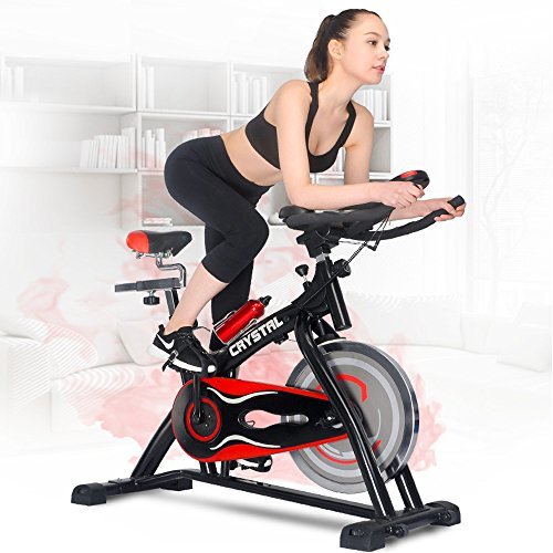 Summer Promotion Crystal Home Use Exercise Bike Spin Bike Spinning Bike Fitness Equipment (Black&Red) (Peloton Spin Cycle compare prices)