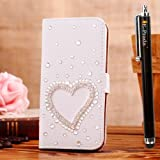 E-Prada LG G2 Jewelry Bling Diamond Gem Magnetic Flip Cards Slots Stand Leather Case Cover - Droplet Heart