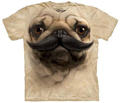 Big Face PugStache Pug The Mountain Adult T-Shirt L