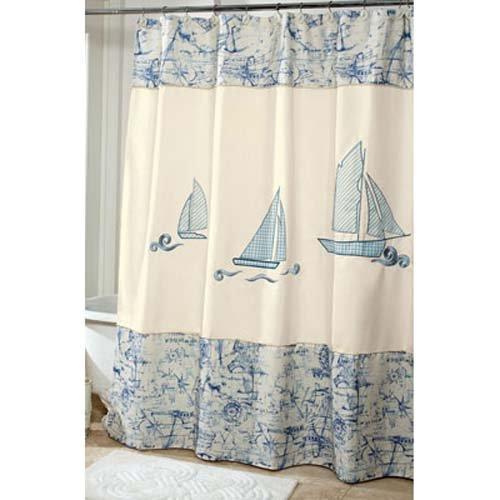 Avanti Linens Fabric Shower Curtain ~ Schooner