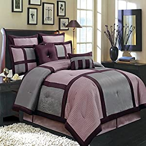 Amazon Com 12pc Modern Grey Purple Bed In A Bag
