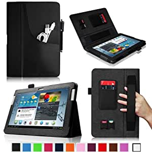 Fintie Folio Plus Leather Case Cover with Elastic Hand Strap/Front Pocket/ Multiple Card Slots/ Stylus Holder for Samsung Galaxy Tab 2 10.1 inch Tablet - Black