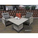 Loungetisch Kaffeetisch Serie Soho Beach hochwertig mittels Gasdruckfeder höhenverstellbarer Easystone Tischplatte 90x90 cm