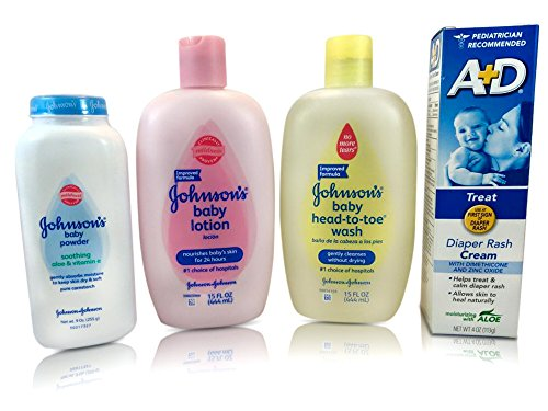 4-in-1 Baby Bundle Set -Johnson's Baby-powder, Lotion, Head to Toe Wash and A&d Diaper Rash Cream - Makes Great Baby-shower Gift! Pediatrician Recommended Products for Parents of a Newborn - 1