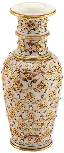 EtsiBitsi Rajasthani Marvel In Marble Gold Embossed Flower Vase with Kundan Work (9