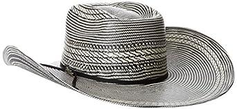 Tony Lama Men's Vegas Black White Straw Cowboy Hat, Black/White, 6 3/4
