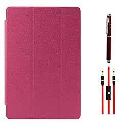 DMG Premium Transparent Back Tri-Fold Stand Book Cover Case For Xiaomi Mi Pad 7.9in Android Tablet (Magenta) + AUX Cable + Laser Torch Stylus Pen