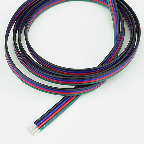 Ledwholesalers 18 Gauge 4 Conductor Wire For Rgb Color Changing Led Strips 12 And 24 Volt, 25 Feet, 2300-25F