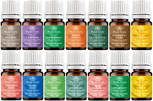 Essential Oil Variety Set Kit - 14 Pack - 100% Pure Therapeutic Grade 5 ml. Set includes- (Bergamot, Clary Sage, Cinnamon Bark, Eucalyptus, Grapefruit, Lavender, Lemon, Lime, Patchouli, Peppermint, Rosemary, Spearmint, Sweet Orange & Tea Tree)