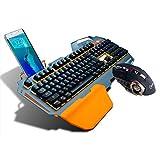 PK - K820 Metal Aluminum-Alloy phone holder Mechanical Keyboard for Gamers with RGB LED Backlight 104 Keys and VOYE G502 Matel Gamer Mouse with 3200DPI (K820 Keyboard+WoyeG502 Mouse) Value Combo Seta