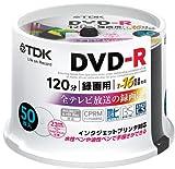 TDK 録画用DVD-R デジタル放送録画対応(CPRM) 1-16倍速 インクジェットプリンタ対応(ホワイト・ワイド) 50枚スピンドル DR120DPWC50PU-AM