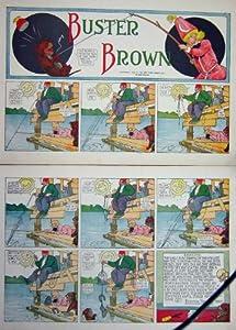 Impresión Antigua de la Historieta Astuta del Abuelo Buster Brown 1908 Que Pesca el Perro
