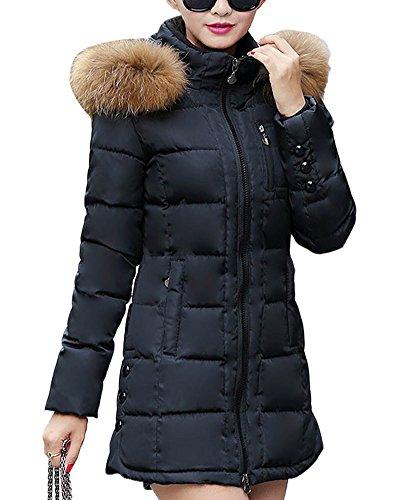 SaiDeng Donne Collo Di Pelliccia Cappotto Spessore Outwear Piumino Cappotto Caldo Di Inverno Nero M