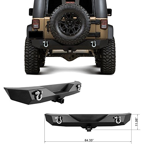 Restyling Factory 07-16 Jeep Wrangler JK Heavy Duty Rock Crawler Rear Bumper With 2'' Hitch Receiver-Textured Black (Black) (Rear Bumper Wrangler compare prices)