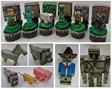 MINECRAFT 12 Piece Birthday CUPCAKE Topper Set Featuring 6 RANDOM Minecraft Figures and 6 RANDOM Blocks, Figures Average 1