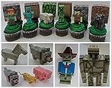 MINECRAFT 12 Piece Birthday CUPCAKE Topper Set Featuring 6 RANDOM Minecraft Figures and 6 RANDOM Blocks, Figures Average 1