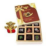Chocholik Belgium Chocolates - 9pc Soft And Sweet Dark Chocolate Box With Small Ganesha Idol - Diwali Gifts