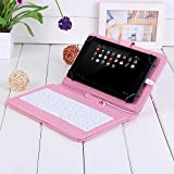Masione Keyboard and Case for 7-Inch Tablets (7 Inch USB TO Micro USB Keyboard, Pink)
