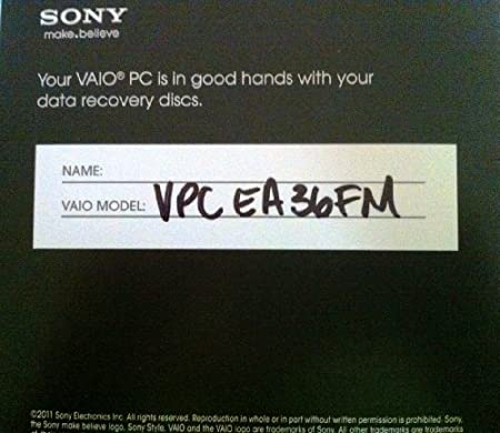 Sony Vaio VPCEA36FM system restore disks