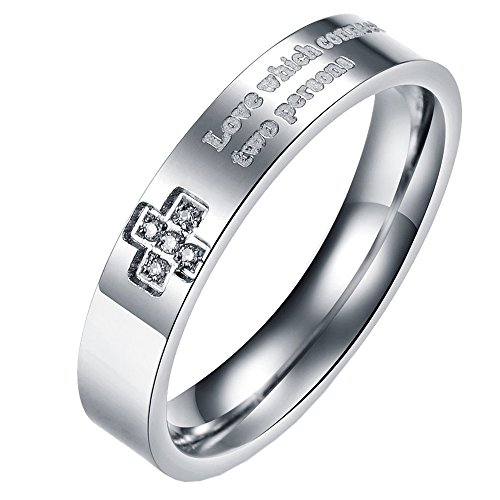 Um Jewelry Cross Promise Rings Engraved Men'S Women'S Stainless Steel For Him And Her Come Together