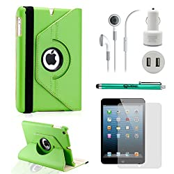 iPad Mini 5-in-1 Accessories Bundle Rotating Case for Business and Travel Green