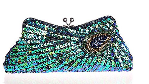 Popular Fashion Women'S Uique Luxury Sequins Beaded Evening Bag Wedding Bridal Party Prom Clutch Evening Bag Clutch Handbag Peacock And A Simple High-End Business Gifts Demolition Keychain (Green) (Peacock Wedding Programs compare prices)