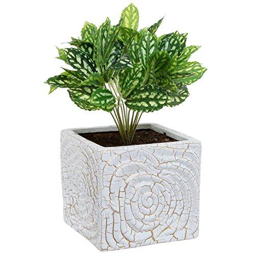 6 inch decorative spiral design square white ceramic plant for 6 ceramic flower pots