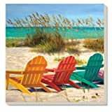 CounterArt Decorative Absorbent Coasters, Beach Chairs, Set of 4